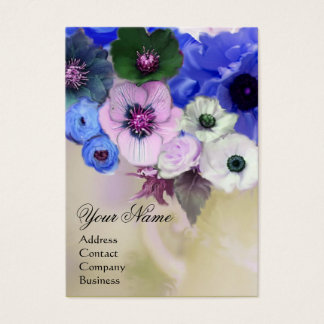 WHITE BLUE ROSES AND ANEMONE FLOWERS MONOGRAM BUSINESS CARD