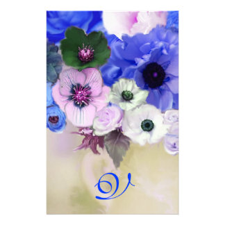 WHITE BLUE  ROSES AND ANEMONE FLOWERS MONOGRAM STATIONERY