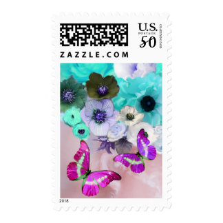 WHITE BLUE ROSES,ANEMONE FLOWERS ,PINK BUTTERFLIES POSTAGE