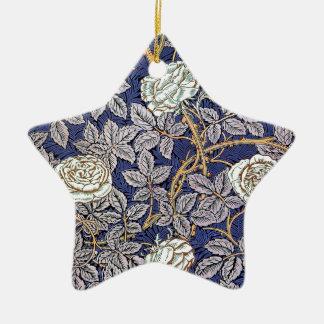 White Blue Roses Ceramic Ornament