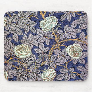 White Blue Roses Mouse Pad