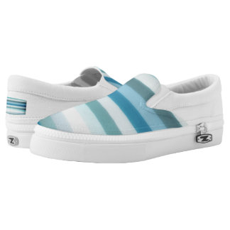 White & Blue Slip-On Sneakers