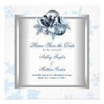 White Blue Snowflake Winter Wedding Save the Date Personalized Invite