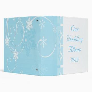 White & Blue Snowflake Wonderland 3 Ring Binders