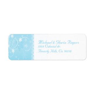 White & Blue Snowflake Wonderland Custom Return Address Labels