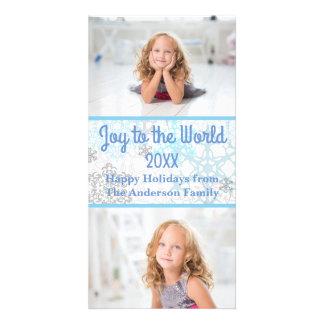 White/Blue Snowflakes 2 Photos - Photo Card