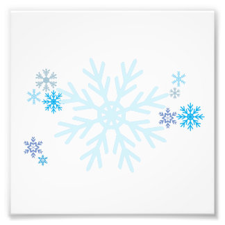 White Blue Snowflakes Christmas Invitation Stamps Photograph