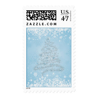 White blue Snowflakes, Christmas tree Postage