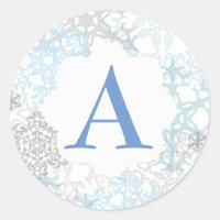 White/Blue Snowflakes - Circle Sticker