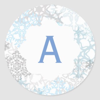 White/Blue Snowflakes - Circle Sticker