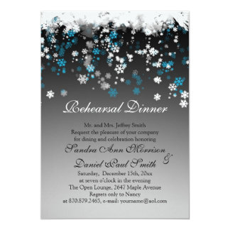 White, blue snowflakes on a black Rehearsal Dinner Card