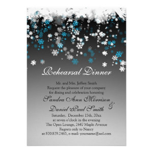 White, blue snowflakes on a black Rehearsal Dinner Invitations