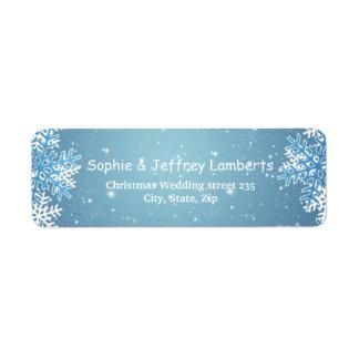 White blue snowflakes on blue Christmas Label