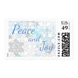 White/Blue Snowflakes Peace & Joy - Postage Stamp