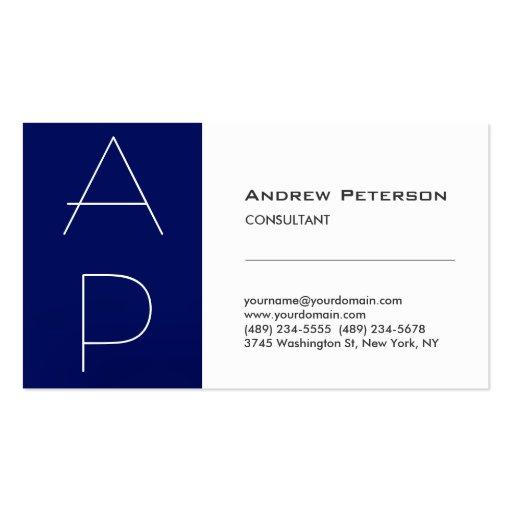 White Blue Stripe Trendy Monogram Business Card