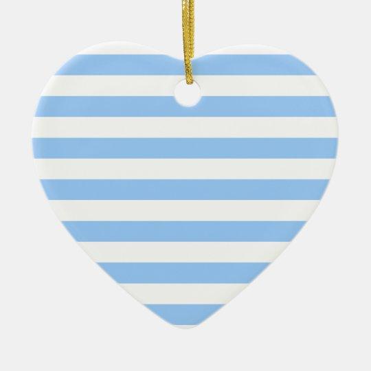 White-Blue Stripes Ceramic Ornament
