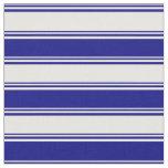 [ Thumbnail: White & Blue Stripes Pattern Fabric ]