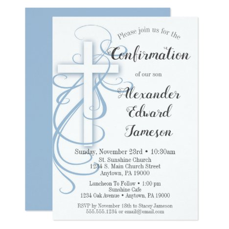 White Blue Swirl Cross Confirmation Invitation Boy