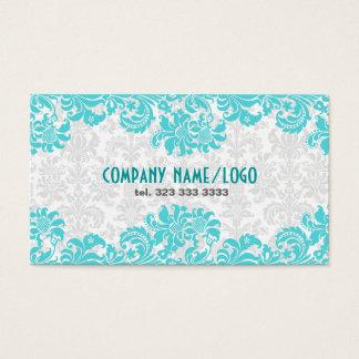 White & Blue Vintage  Floral Damasks Business Card