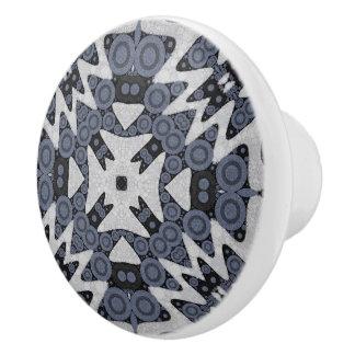 White Blue Wavy Abstract Ceramic Knob