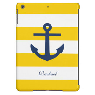 White Blue & Yellow Anchors Aweigh Case For iPad Air