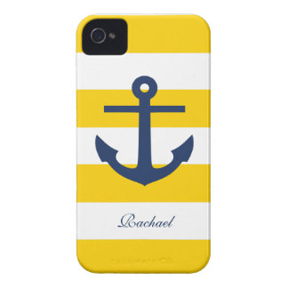 White Blue & Yellow Anchors Aweigh iPhone 4 Case