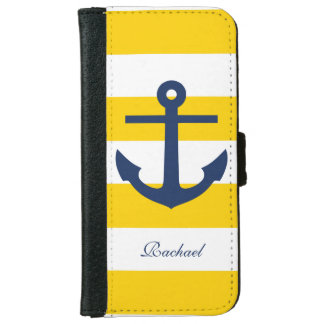 White Blue & Yellow Anchors Aweigh iPhone 6 Wallet Case