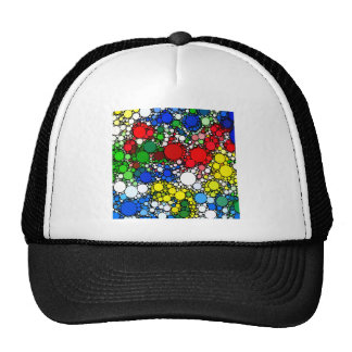 White & Blue Yellow Red Polka Dots Trucker Hat