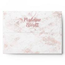 White Blush Marble and Rose Gold Wedding Monogram Envelope