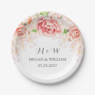 White Blush Pink Watercolor Floral Wedding Plate