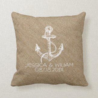 White Boat Anchor Beige Linen Print Pillow