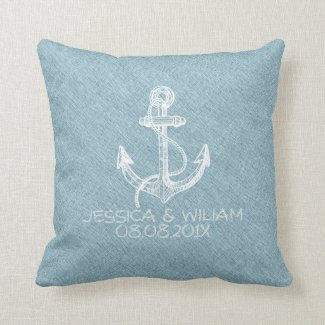 White Boat Anchor Light Blue Linen Print Throw Pillows