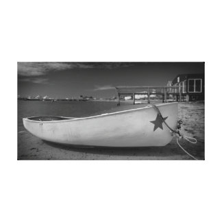White Boat Black and White Photography Gallery Wrap Canvas