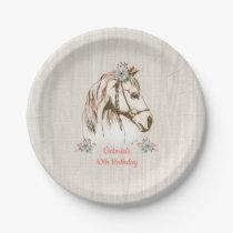 White boho Horse birthday party paper plates