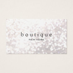 White Bokeh Glitter Modern Fashion & Beauty Business Card at Zazzle