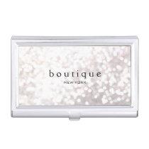White Bokeh Glitter Modern Fashion & Beauty Business Card Holder