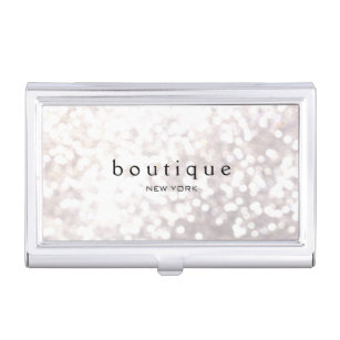 Fashion business card holders cases zazzle white bokeh glitter modern fashion beauty business card holder colourmoves Images