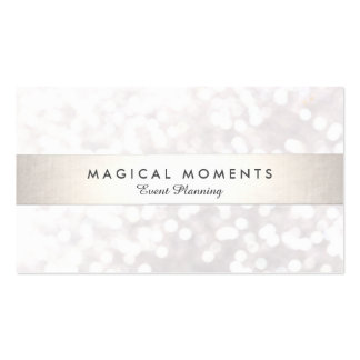 White Bokeh Wedding and Event Planner Business Card