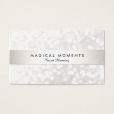 White Bokeh Wedding And Event Planner Business Card at Zazzle