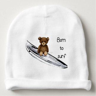 """White bonnet of birth """"Born to surfing """" Baby Beanie"""