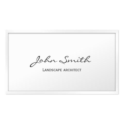 White Border Landscape Architect Business Card
