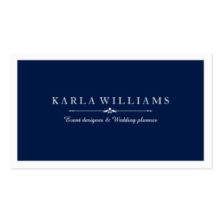 White Border & Midnight Blue Background Business Card