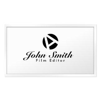 White Border Monogram Film Editor Business Card