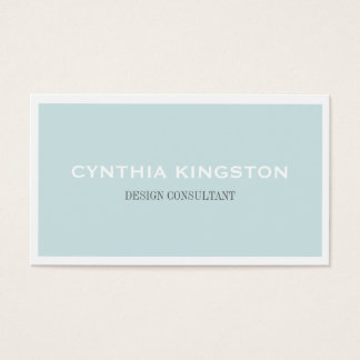 White border simply elegant soft blue professional business card