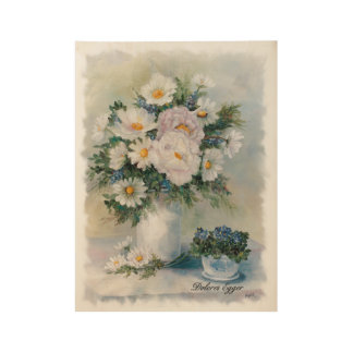 White Bouquet Wood Poster