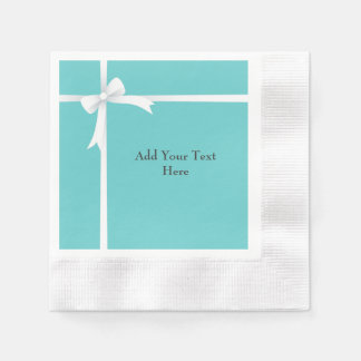 White Bow on Teal Blue Customizable Paper Napkin