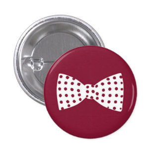 White Bow Tie with Maroon Polka Dots Button
