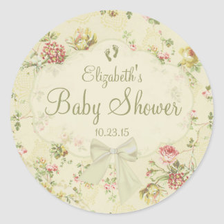 White Bow with Baby Footprints Floral Baby Shower Classic Round Sticker
