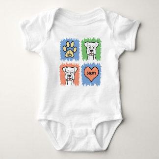 White Boxer Baby Bodysuit
