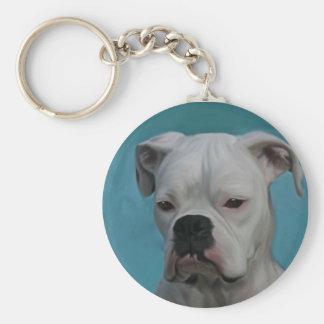 White Boxer Basic Round Button Keychain